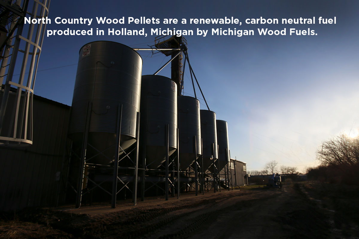 North Country Wood Pellets are a renewable, carbon neutral fuel produced in Holland, Michigan by Michigan Wood Fuels.